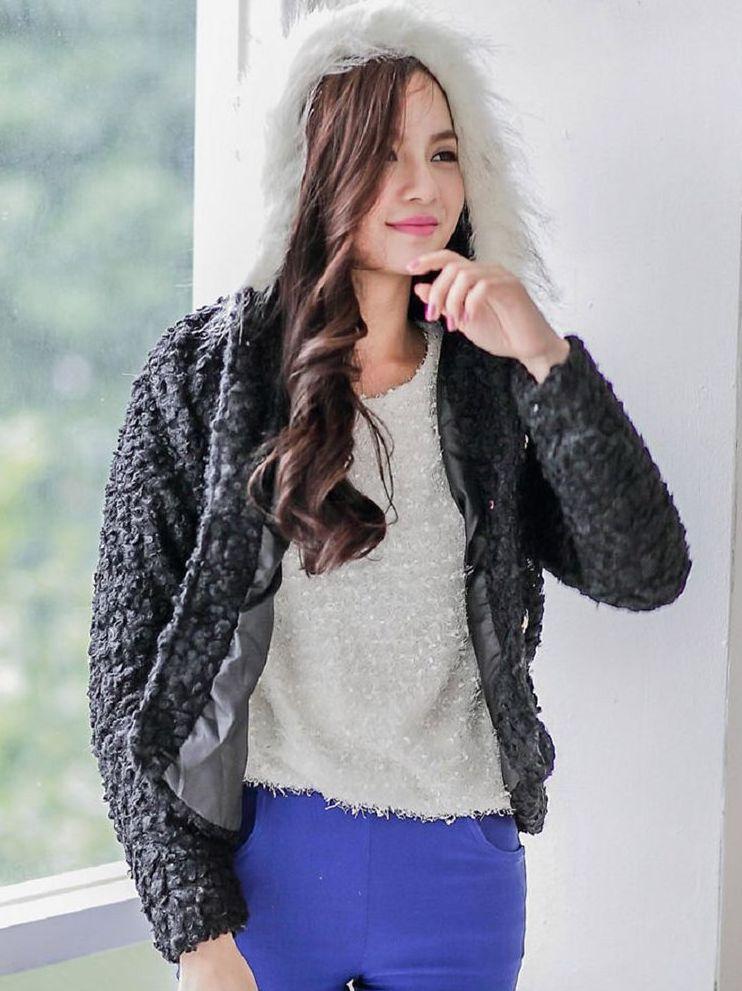 Korean Sweet Fur Collar Hooded Single Breasted Tweed Short Coats