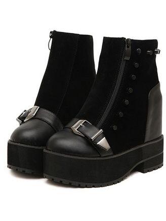 Punk Style Patchwork Rivet Belt Buckle Chunky Heel Platform Ankle Boots