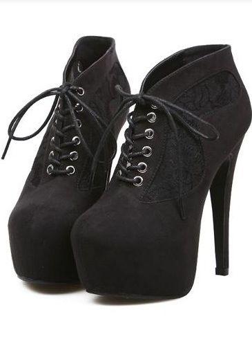 Pop Fashion Bandage Lace Montage High Heel Platform Ankle Boots
