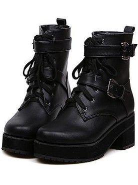 Korean Fashion Girl Belt Buckle Bandage Chunky Heel Ankle Boots
