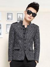 Winter Warm Stand Collar Epaulet Men Wool Thick Suit
