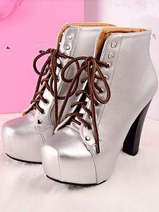 Charming Lady Bandage Chunky Heel Platform Ankle Boots