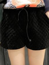 Korean Style Elastic Waist Pure Color Rhombus Pattern Short Pants