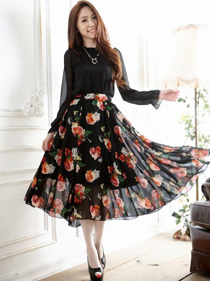 Elegant Chiffon Flower Ruffles Pleated Stand Collar Long Dress