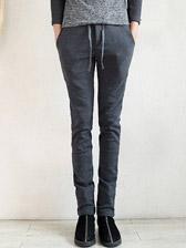 Fashion Warm Elastic Slant Pockets Casual Men Long Velvet Pants