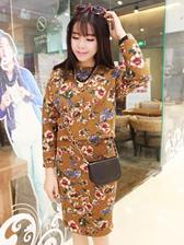 Korean Modern Girl Floral Printing Round Collar Thicken Two Pieces Dress