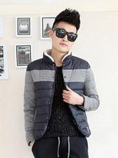Fashion Korea Color Block Stand Collar Thick Men Cotton Jackets