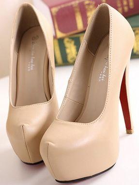 Elegant Lady Pure Color Round Toe Thin Heel Platform Pumps