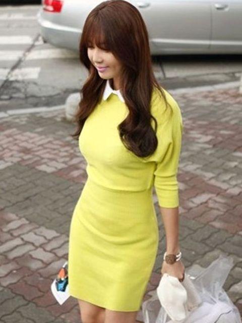 Top Sale Wrap Lapel Spliced Color Block Knitted Dress