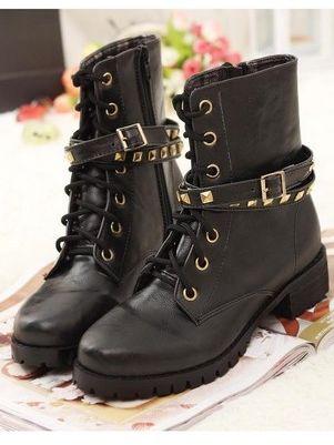 Punk Style Pure Color Bandage Rivet Chunky Heel Platform Boots