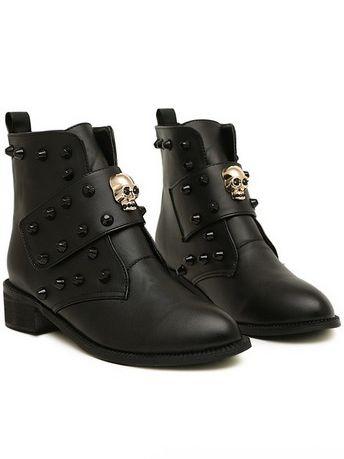 Cool Girl Skull Design Rivet Pointed Toe Chunky Heel Ankle Boots