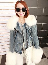 Latest Trendy Large Faux Fur Decoration Zipper Up Short Denim Coat