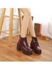 Korean Style Bandage Chunky Heel Platform Ankle Boots