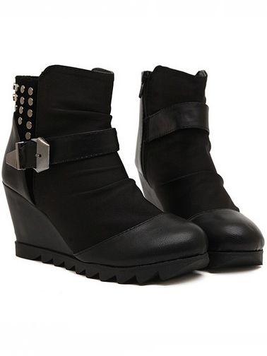 Punk Style Belt Buckle Rivet Design Wedge Heel Platform Boots