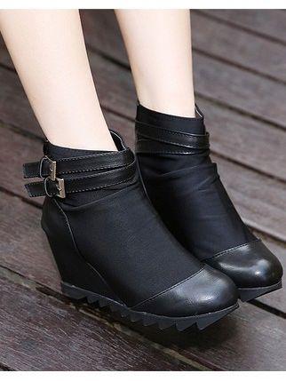 Korean Style Belt Buckle Back Zipper Wedge Heel Platform Boots