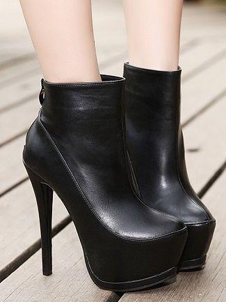 Little Sweet Pure Color Back Zipper Thin Heel Platform Boots