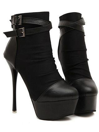 High Heel Shoes Back Zipper Belt Buckle Thin Heel Platform Boots