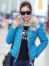 2013 Fashion Winter Detachable Raccoon Fur Collar Thicken Short Coat