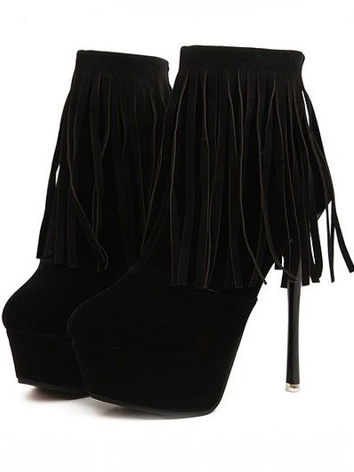 Sexy Shoes Back Zipper Tasseled Thin Heel Platform Ankle Boots