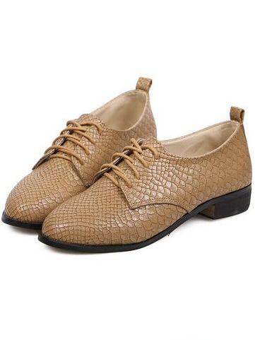 Britpop Lady Lace Up Montage Chunky Heel Pltform Shoes