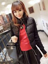 Fashionable Needle Lace Long Sleeve Stand Collar Coat