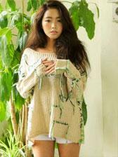 New Arrival Style Tassel Beard Round Neck Knit Sweater