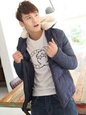 Newest Men Denim Matching Zip Up Lamb Wool Hooded Cotton Jackets