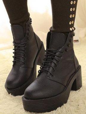 Korean Style Bandage Rivet Design Chunky Heel Ankle Boots