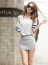 Fashion Lady Round Collar Elastic Waist Slim Dress