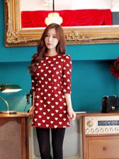 Sweet Girl Heart Shape Half Sleeve Round Collar Dress