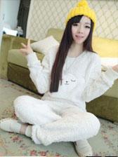 Sweet Style Lambs Wool Round Neck Long Sleeve Household Pajamas
