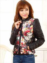 Fashion Latest Popular Flower Printing Zipper Short Coat