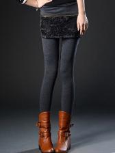 New Fashion Style Arrival Full Cotton Lace Splice False Two Piece Legging