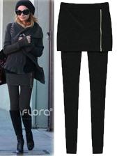 Korean Style Fade Two-Piece Zipper-Front Plus Velvet Pantskirt