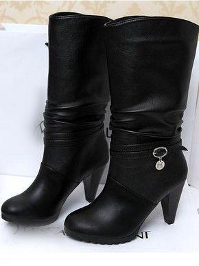 Classics Look Belt Buckle Round Toe High Heel Platform Boots