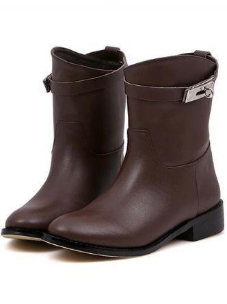 Warm Winter Metal Decoration Velvet Chunky Heel Ankle Boots