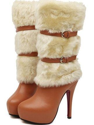 Beautiful Lady Belt Buckle Side Zipper Thin Heel Platform Boots