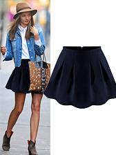 European Style Women Fashion Solid Nature Waist Short Ruffles Skirt