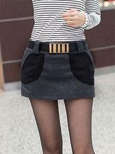 2013 Newest Style Fitting Big Pocket Natural Waist Woolen Pantskirt