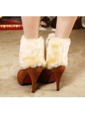 New In Winter Side Zipper Faux Fur Chunky Heel Ankle Boots