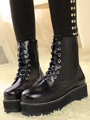 Cool Girl Front Bandage Chunky Heel Ankle Black Boots