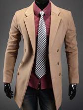 Fashion Korea Men Lapel Slant Pocket Double-Breasted Long Wind Coats