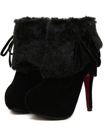 Beautiful Lady Faux Fur Chunky Heel Platform Boots
