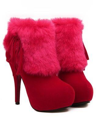 Sexy Lady Faux Fur Side Zipper Chunky Heel Platform Boots