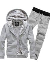 Fashion Velvet Hooded Plain Color Zipper Men Casual Hoodies Activewears