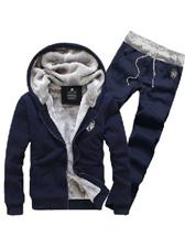 Winter Men Hooded Zipper Velvet Plain Color Sport Hoodies Activewear