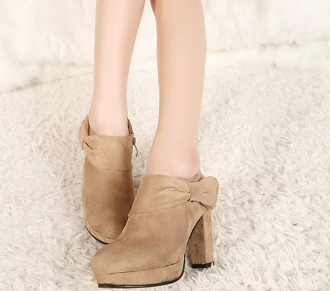 Hot Sale Bowknot Side Zipper Chunky Heel Platform Ankle Boots