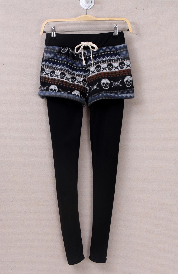 New Fashion Velvet Fake Two Pieces Thicken Leggings