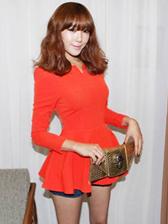 Fashion Lady V-Neck Ruffles Long Sleeve Blouse