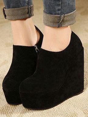 Pure Color Side Zipper Wedge Heel Platform Ankle Boots